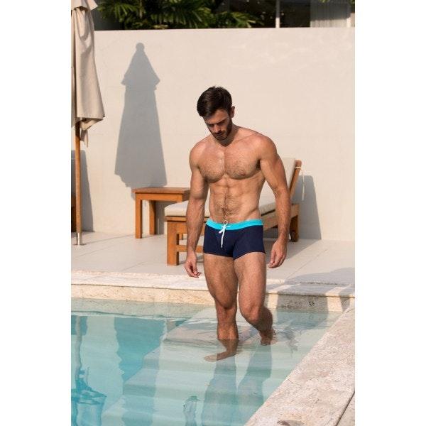 Boxer de bain turquoise & marine