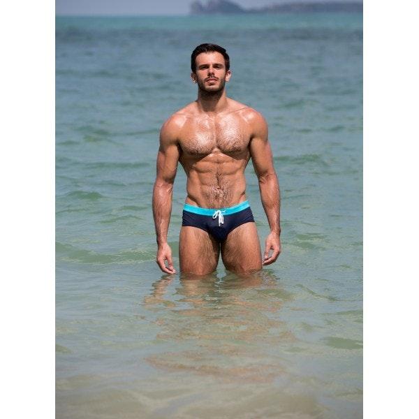 Slip de bain turquoise & marine