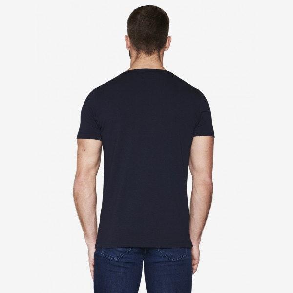 T-shirt Bleu marine - Col tunisien
