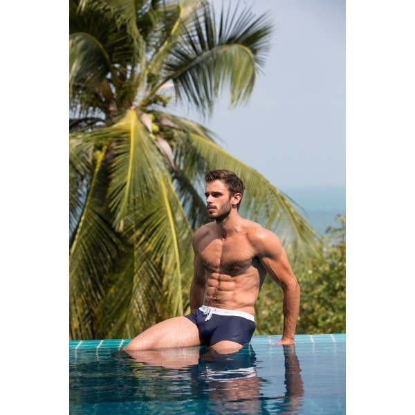 Boxer de bain blanc & marine