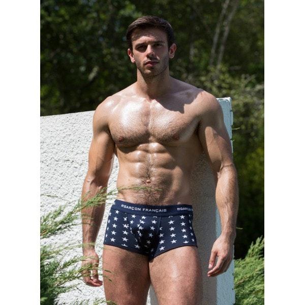 Boxer bleu étoiles