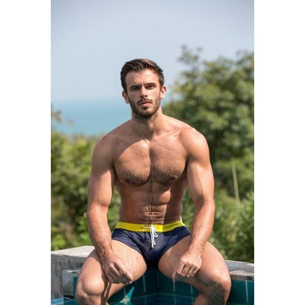 Boxer de bain jaune & marine