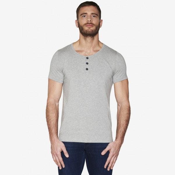 T-shirt Gris - Col tunisien