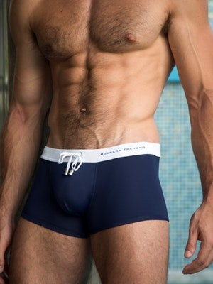 White & navy swim trunk