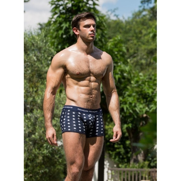 Navy blue Long Stars boxer