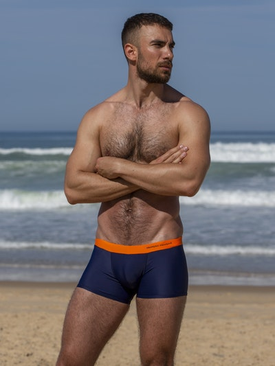 Boxer de bain orange - broderie