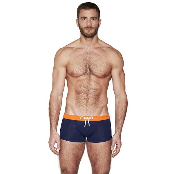Boxer de bain orange & marine