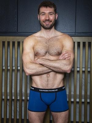 Long royal blue boxer