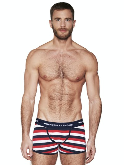 Boxer long rayures tricolores