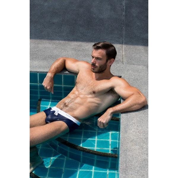 Slip de bain blanc & bleu marine