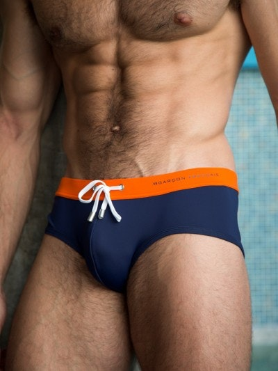 Slip de bain orange & marine