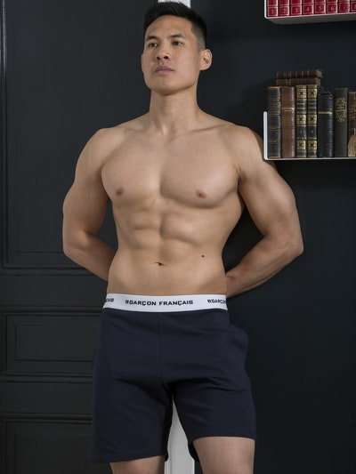 Navy blue short pyjama bottom